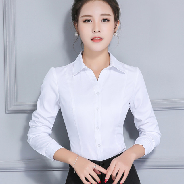 26f18674ce1bf4 Women Long Sleeve Cotton White Shirt Spring Autumn V-neck Button-Down Blouse  Solid Color Blue Pink Tops