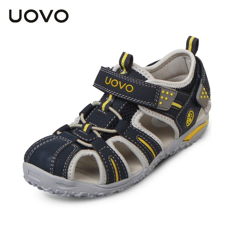 UOVO марка 2016 лето пляж детская обувь закрыты носок сандалии для мальчиков и девочек дизайнер малыша сандалии для 4-15 лет дети