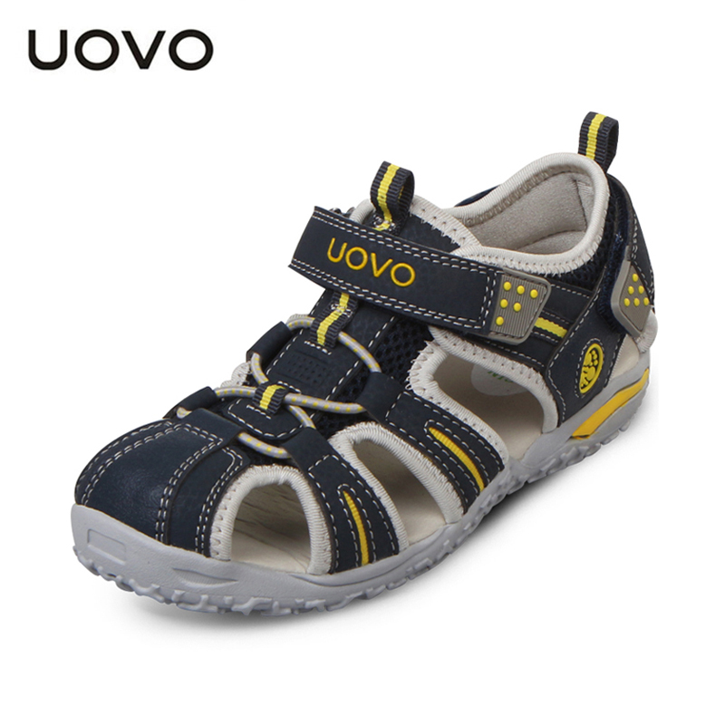 UOVO Brand 2018 Summer Beach Sandals Kids Closed Toe Toddler Sandals Children Fashion Designer Shoes For Boys And Girls 24#-38# mmnun 2017 boys sandals genuine leather children sandals closed toe sandals for little and big sport kids summer shoes size26 31