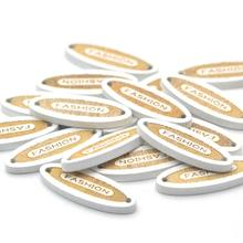 KALASO 50Pcs White Fashion Carved Wooden Buttons Handmade Label Tags  For Clothes 2 Holes Sewing DIY Craft Supplies 2.7x0.9cm