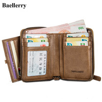 New Arrival Brand Leather Wallets Men Vintage Casual Zipper Short Small Purses Male Clutch Bags Credit