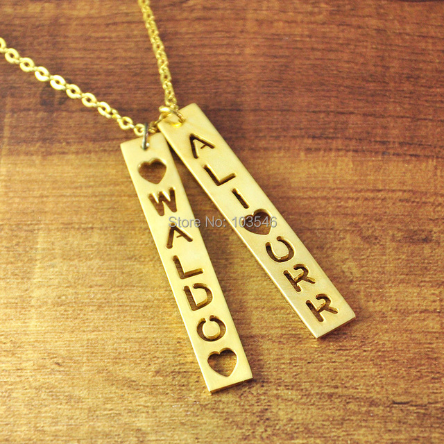 Aliexpress buy custom gold color bar necklace personalized custom gold color bar necklace personalized engraved vertical bar necklace custom nameplate necklace aloadofball Image collections