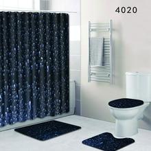 HomeMiYN 2018 New Bath Mat Water Droplets Black 50X80cm Rug Non Slip Waterproof Shower Curtain 12 Hooks 4pcs Bathroom Decor