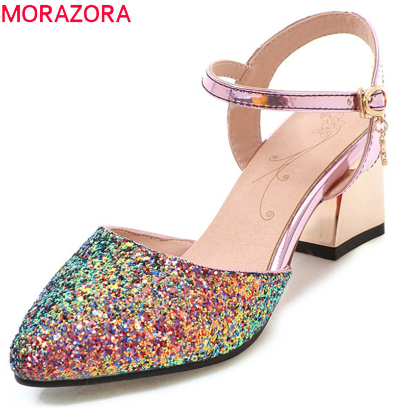 MORAZORA 2018 hot sale women pumps elegant pointed toe summer shoes simple buckle shallow party wedding high heel lady shoes morazora 2018 hot sale women pumps pointed toe summer shoes genuine leather shoes buckle party shoes fashion high heels shoes