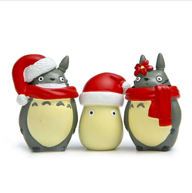 Anime Ghibli Hayao Miyazaki Totoro Christmas Party Model My Neighbor Totoro Figurine Totoro Briquettes figure with Christmas Hat my christmas cd