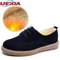UEXIA New Women Fashion Slip on Suede Casual Shoes With Winter Warm Fur Plush Loafers Fur Slip On Flats Round Toe Slip On Ladies