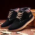 2016 Men Winter Snow Boots Fashion Warm Plush Lace Up Men Shoes Round Head Anti-skid Anti-bottom Ankle Boots Blue Black Brown