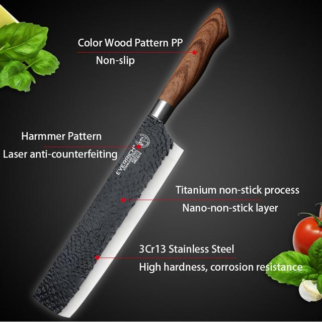 De acero inoxidable Juego de cuchillos de cocina herramientas forjado cuchillo de cocina tijeras de cerámica pelador Chef cortadora Nakiri cuchillo caso 5