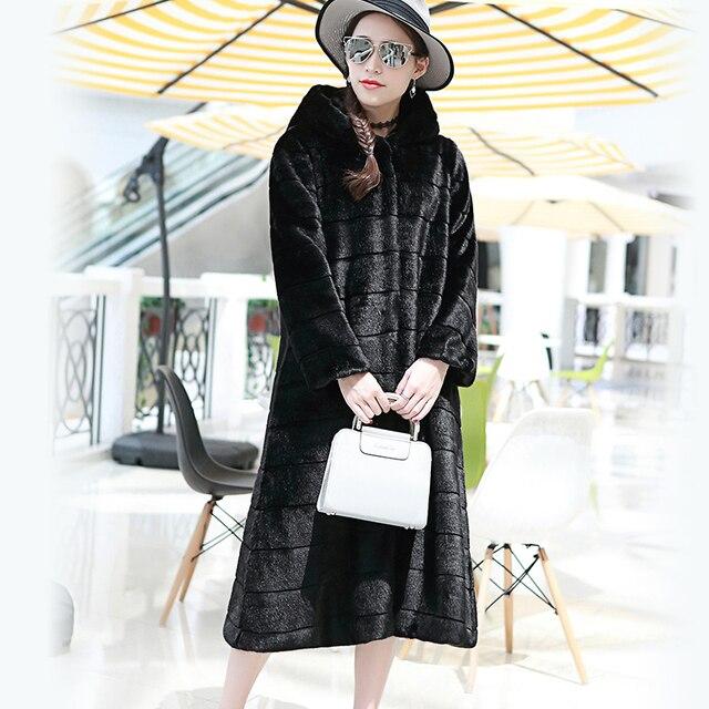 nerazzurri faux fur coat with hood plus size casual loose long
