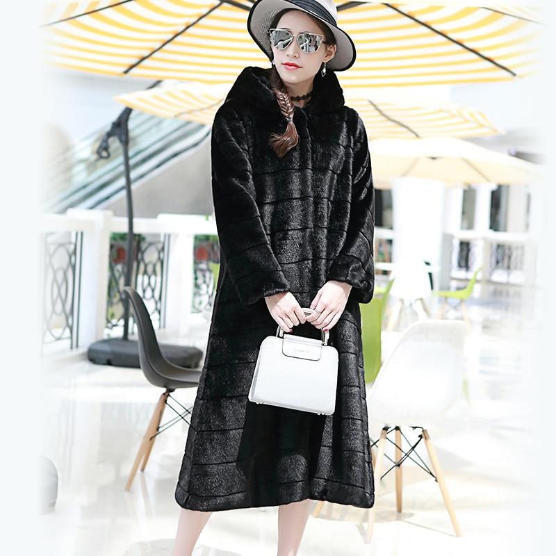 Nerazzurri Faux Fur Coat With Hood Plus Size Casual Loose Striped Fake Fur Jacket Women Long