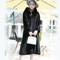 Nerazzurri Faux Fur Coat Với Hood Cộng Với Kích Thước Bình Thường Lỏng Dài sọc Fake Mink Lông Áo Khoác Áo Khoác Phụ Nữ Dài Tay Áo Mùa Đông 2017