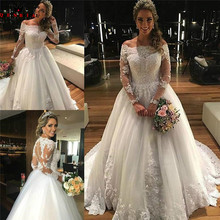 QUEEN BRIDAL Ball Gown Long Sleeve Wedding Dresses