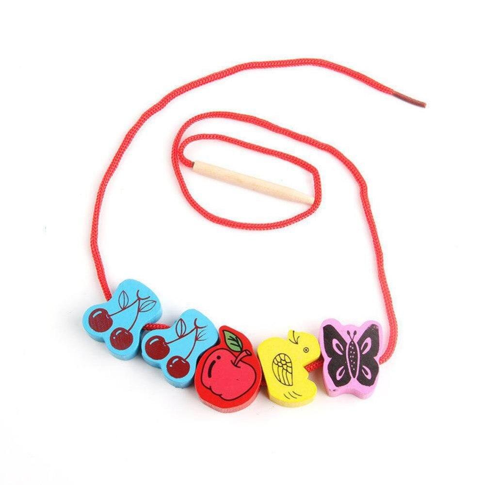 1 Set intéressant perles de laçage en bois animaux cordage blocs de jeu boîte en forme de coeur filetage éducatif mixte fruits jouet cadeaux - 6