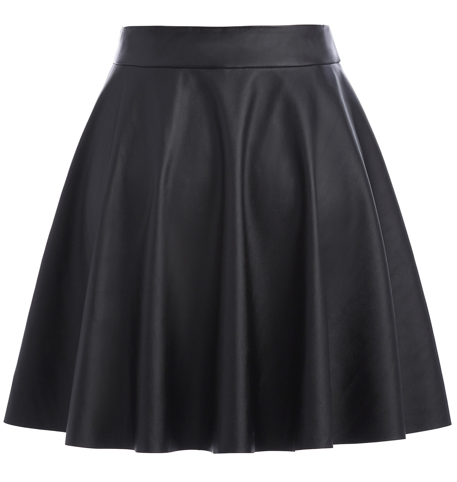 hot 2018 summer skirt Women Basic Casual Synthetic Leather Flared A-Line Mini Skirt preppy style