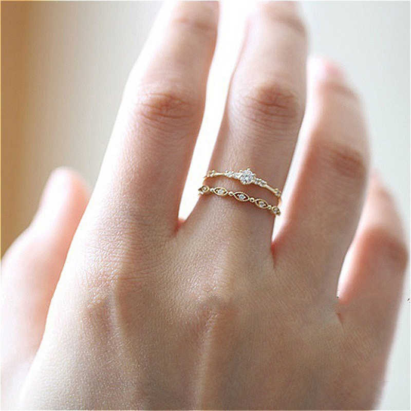 Tisonliz 2019 Dainty Crystal Stackable Finger Rings For Women CZ Rings Female Wedding Engagement Rings Fashion Jewelry Aneis