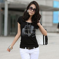 New summer fashion brand t-shirt short sleeve o-neck cotton t shirt black white rhinestone women tops plus size 3XL 4XL tee