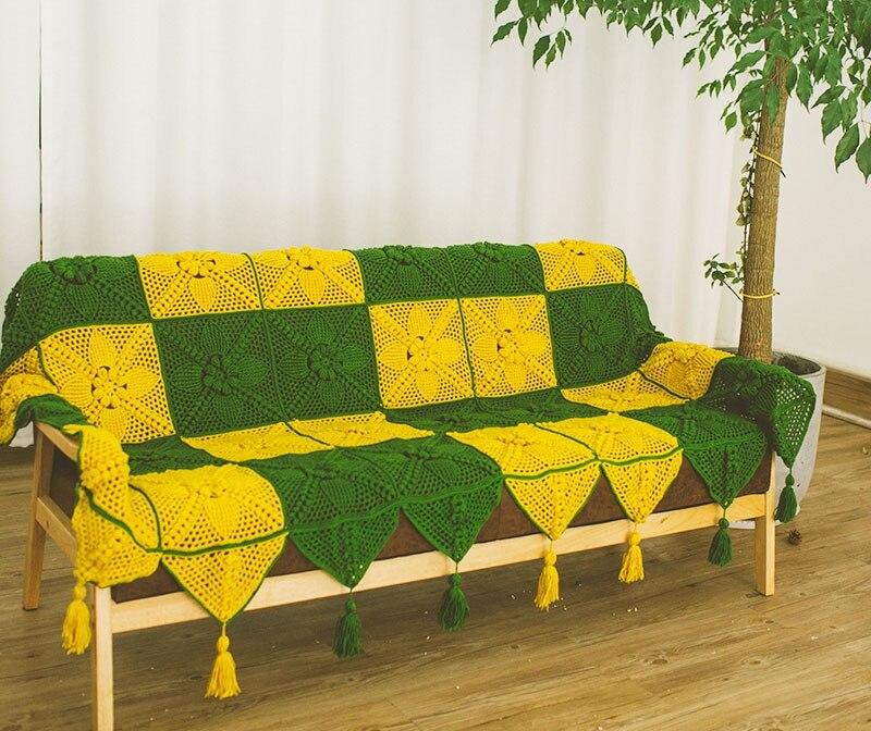 Bunter handgemachter Haken blüht Baumwollspitze-Shabby Chic gehäkelte Sofa-Abdeckungs-Decke viele Gebrauchs- / Grüngelb-einzigartige Geschenke