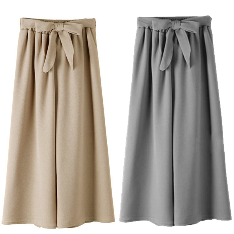 Casual Cotton Plus Size Bow Solid Ankle-Length   Pants   Women Casual Loose   Wide     Leg     Pants   Vintage Elastic Waist Trousers