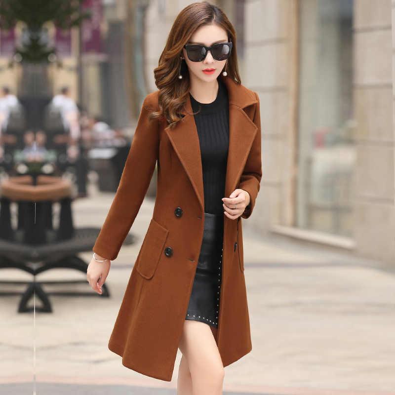 FTLZZ 2019 New Woolen Coats Women Plus Size Long Jackets Winter Spring Female Slim Casual Office Wool Outerwear