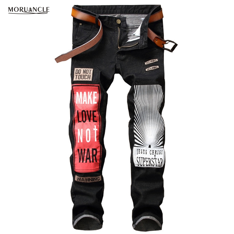 Newsosoo Fashion Mens Printed Jeans Pants Novelty Patchwork Denim Trousers For Male Brand Designer Black Slim Fit Straight
