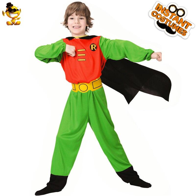 Dsplay Nieuwe Stijl Kids Robin Kostuum Jongens Groene Superhero Jumpsuit Met Cape Cartoon Movie Karakter Voor Halloween Carnaval Party Betrouwbare Prestaties