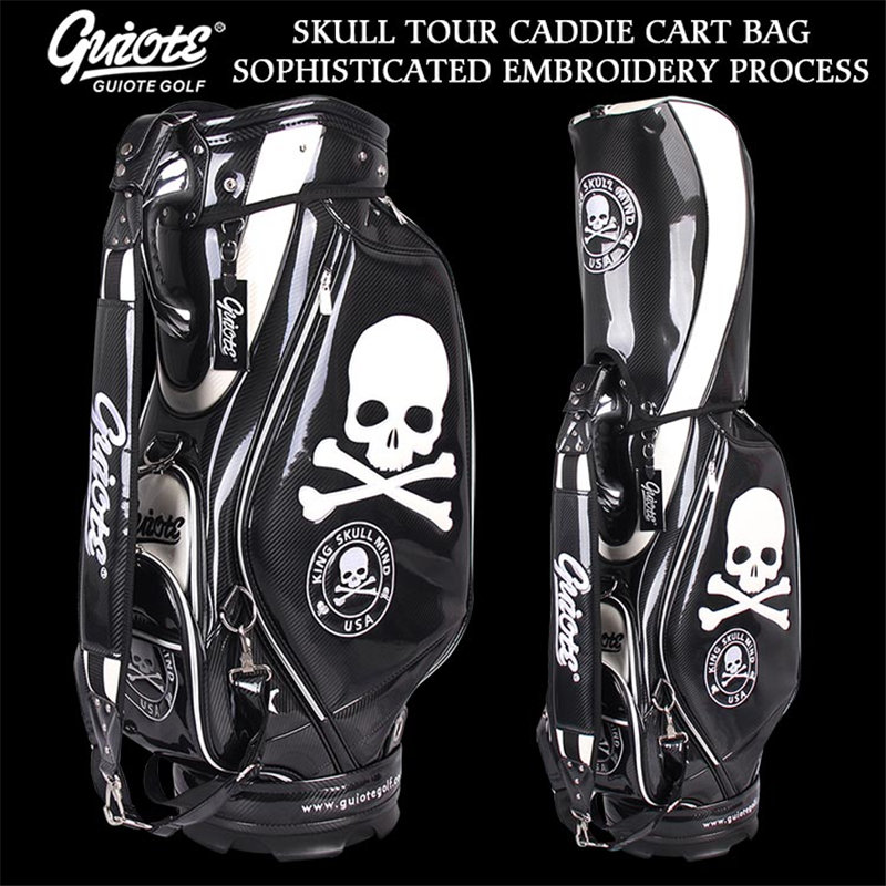 [2 Colors] King Skull USA Golf Caddie Cart Bag PU Leather Golf Tour Staff Bag With Rainhood 5-way For Men Women