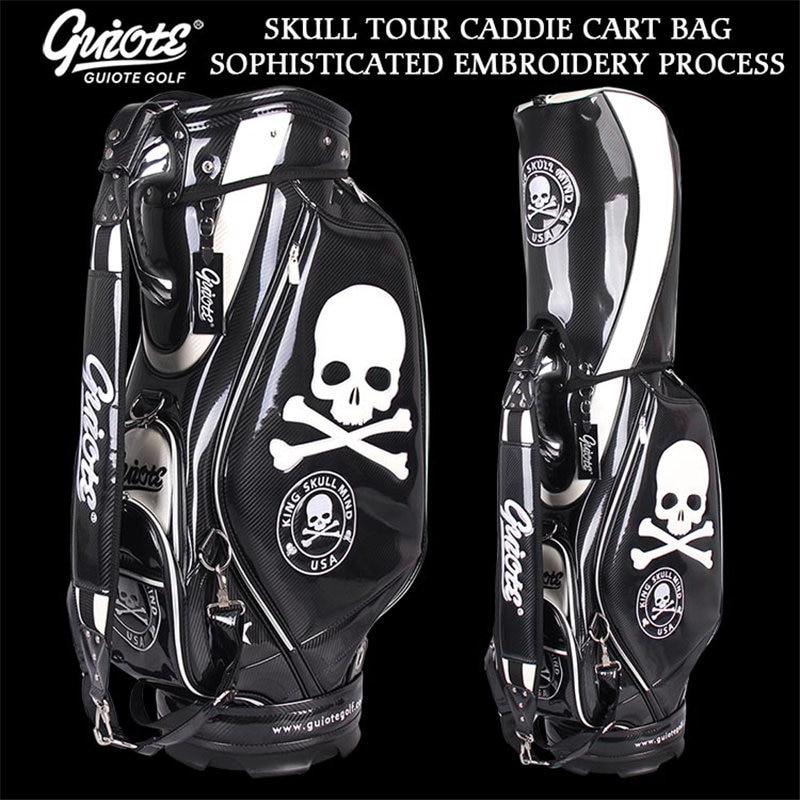[2 Colors] King Skull USA Golf Caddie Cart Bag PU Leather Golf Tour Staff Bag With Rainhood 5-way For Men Women