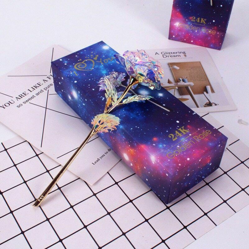 Galaxy Rose With Love Base Everlasting Sequin Gifts Wedding Party Home Decoration Accessories Figurines Gifts Souvenir