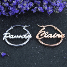 DODOAI Name Hoop Earrings, Custom Earring, Any Available,Personalized Gold Letter Earrings for Women