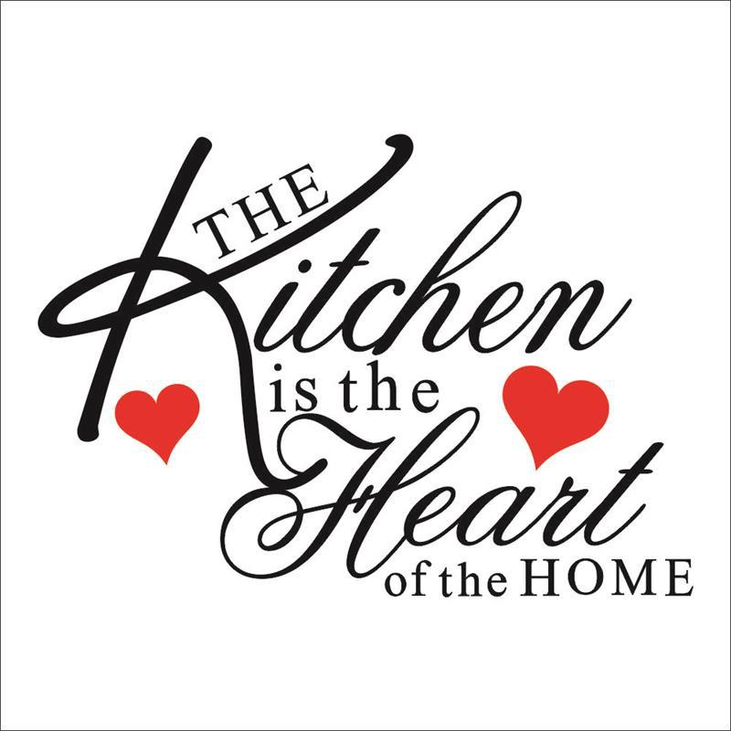 Kitchen Heart Home Wall Stickers Quote Dining Room Decor Restaurant Utensils Refrigerator Decal LOVE HEART Mural Art
