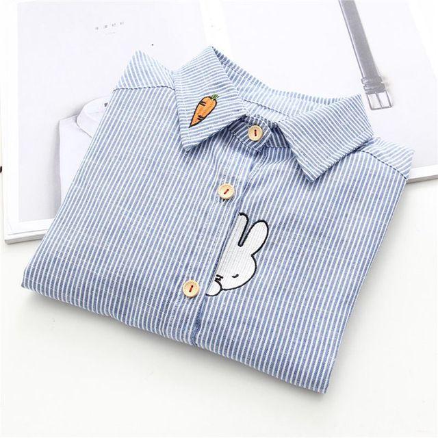 Кролик с морковкой вышиванки Для женщин полосатая блуза хлопковая рубашка модные женские блузки 2019 Для женщин с длинным рукавом «Mori Girl» Топы