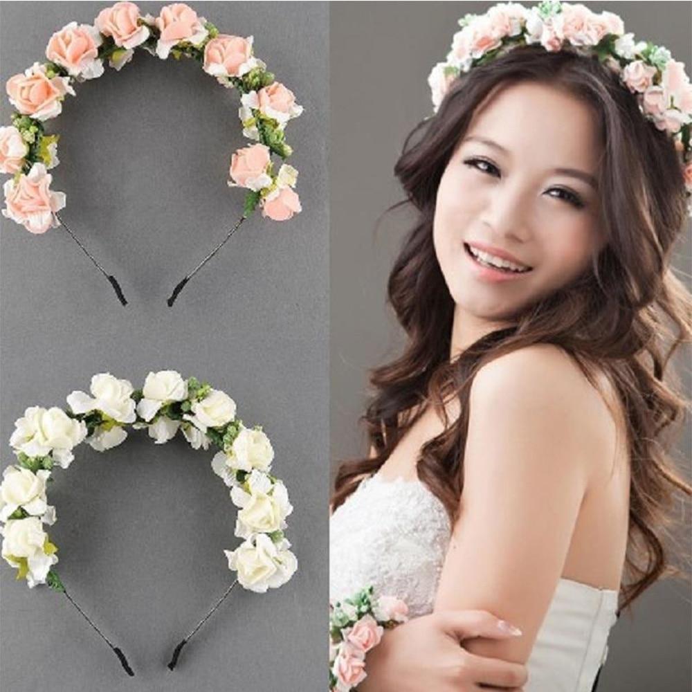 us $1.59 20% off|beautiful wedding party prom flower garland bride hair head bands headband hairband headwear hair accessories festival decor-in