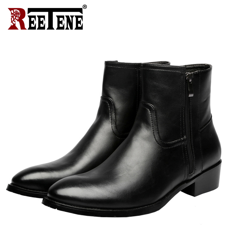 REETENE Men Fashion Lace-Up Ankle Boots Genuine Leather British Men Boot High Quality Casual Men Shoes Waterproof Male Botas