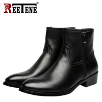 REETENE Men Fashion Lace Up Ankle Boots Genuine Leather British Men Boot High Quality Casual Men Shoes Waterproof Male Botas