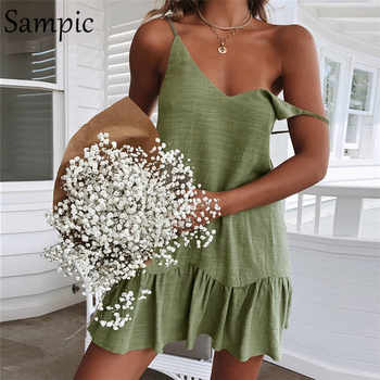 Sampic Backless Sundress Women Mini Dress Ruffle Spaghetti Strap Casual White Linen Dress Sleeveless Beach Summer Dresses 2019 - Category 🛒 Women\'s Clothing