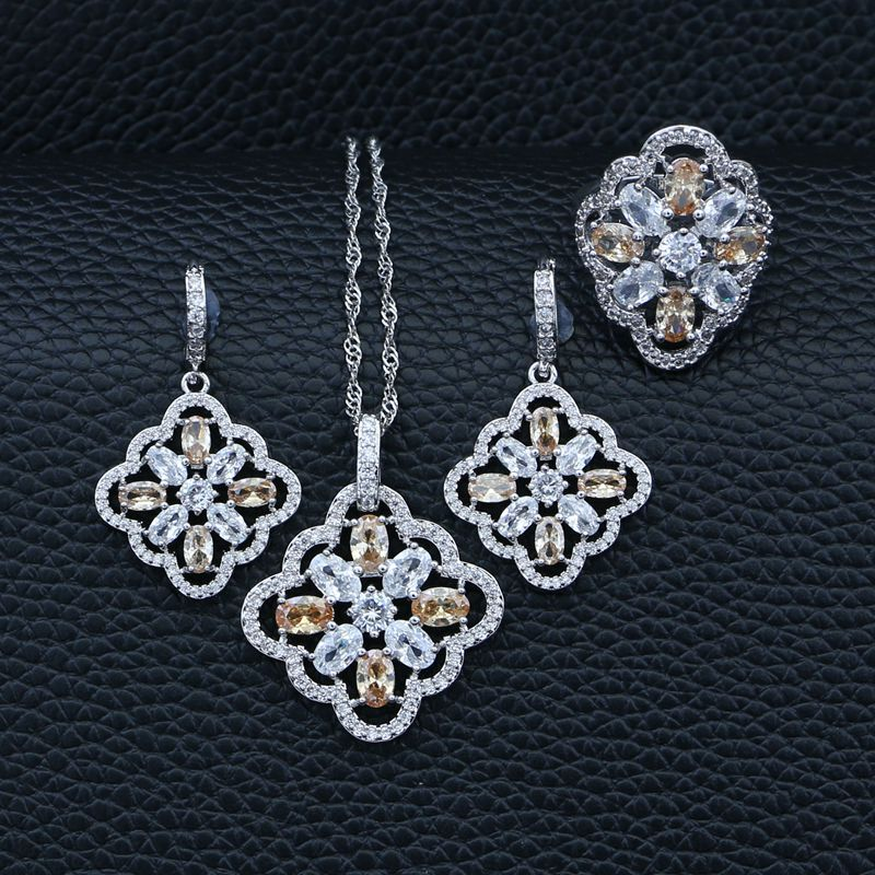 Jewelry-Sets Crystal Pendant/ring 925-Sterling-Silver Cubic-Zirconia White Party