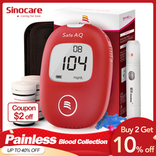 Sinocare Safe AQ Smart mg/dL mmol/L Blood Glucose Meter Diabetes Glucometer Kit &Test Strips Lancets painless Sugar Tester
