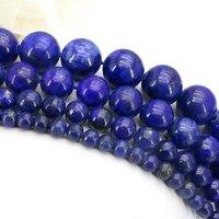 Lapis Lazuli Round Loose Beads 4 6 8 10mm Size Optional 15 Inch DIY Wholesale Hot