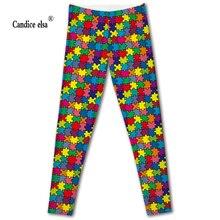 CANDICE ELSA leggings women elastic sexy fitness legging puzzle printed workout female pants plus size wholesale drop shipping