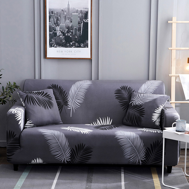 1pc Leaf and Flower Printed Sofa Cover Made of Polyester and Spandex Fabric for L Shaped and Corner Sofa