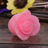 1 set Romantique Rose Fleur Bougies pour Dîner D'anniversaire Décor À La Maison Sans Fumée De Mariage Décoration Amour Table Bougie Avec Paillettes