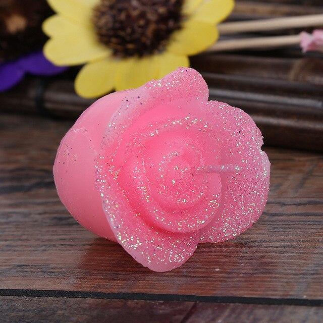 1 Set Romantique Rose Fleur Bougies Pour Dîner D'Anniversaire