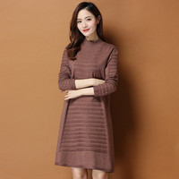 Women Solid Color Knitted Casual Fasion New Warm Lady Dress