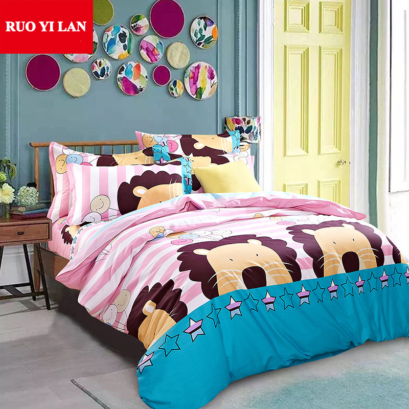 Three or Four-piece Bedding Set 100% Cotton Twill Duvet Cover Flat Bed Sheet Pillowcase Twin Full Queen for Adults Children