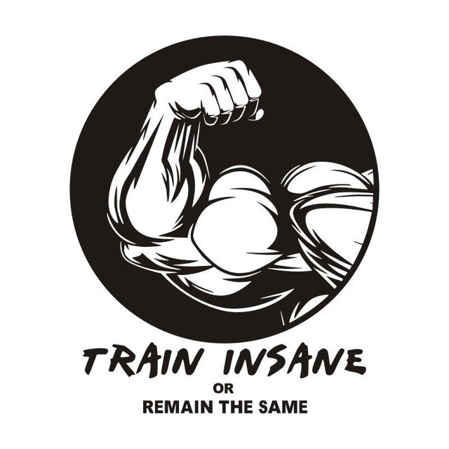 Fitness Gym Wall Sticker Train Insane Brawny Arms Art Quotes Wall Decal For Gymnasius adesivo de  sc 1 st  AliExpress.com : fitness quotes wall decals - www.pureclipart.com