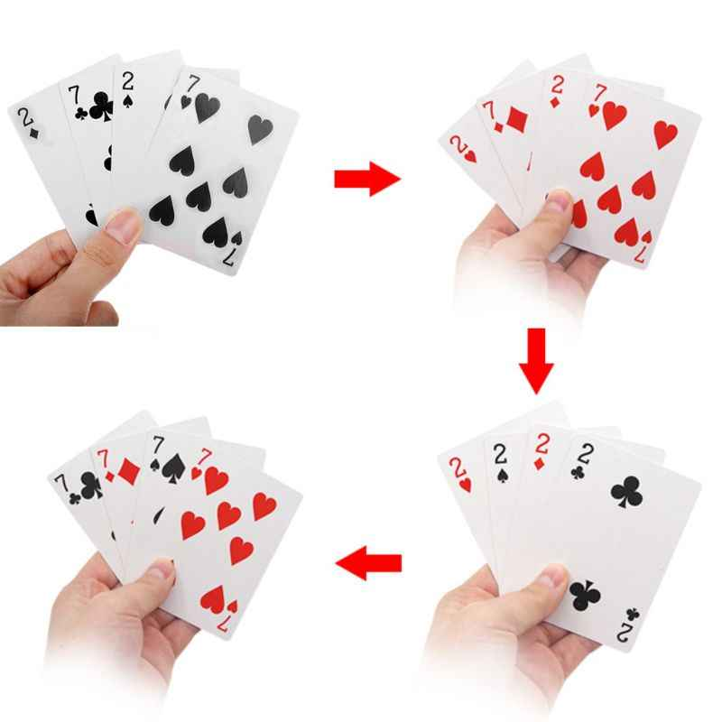 4 Cards 7 To 2 Transformer Magic Tricks Magic Props Close Up Magic trick playing cards