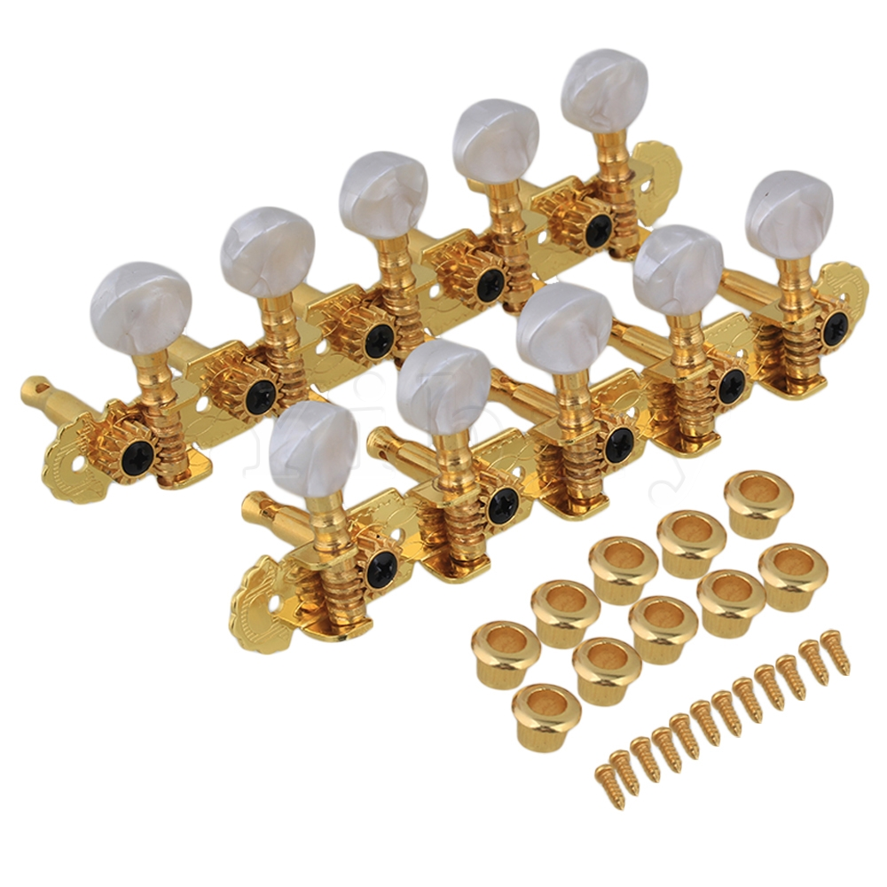 Yibuy 2 x Mandolin 10 String Electric Guitar Tuning Key Machine Head 5R5L Golden