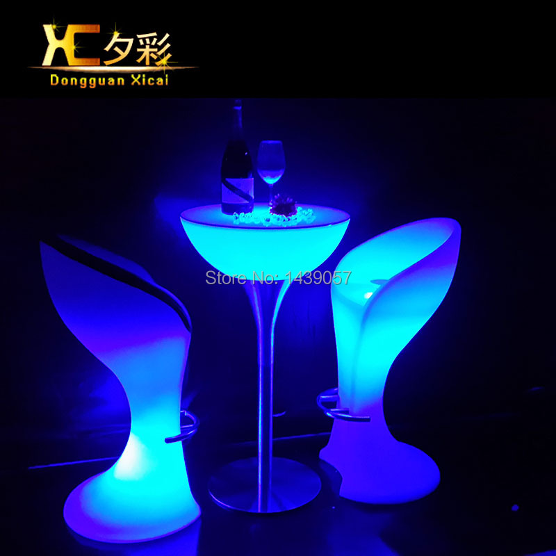 Plastic LED Bar Stool Club High Cocktail Chair Waterproof Outdoor Furniture Wine Drinking Stools led bar table plastic luminous furniture high cocktail drinking table for living room dining room garden club party desk