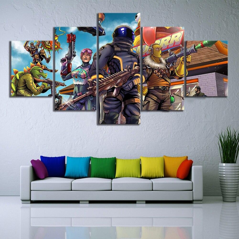 5 unidades piezas batalla de quincena Royale fuerte juego de arte Nite Poster pinturas de lienzo decorativas para decoración de sala de estar