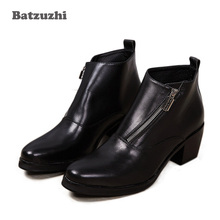 купить Batzuzhi 6.8CM Heels Black Men Boots Genuine Leather Fashion British Style Men's Boots Round Toe Square High Heels Men Black, 46 по цене 5962.93 рублей